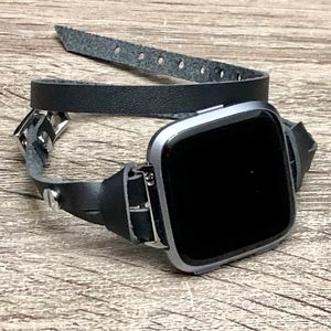 Double Wrap Slim Black Leather Band Fitbit Versa